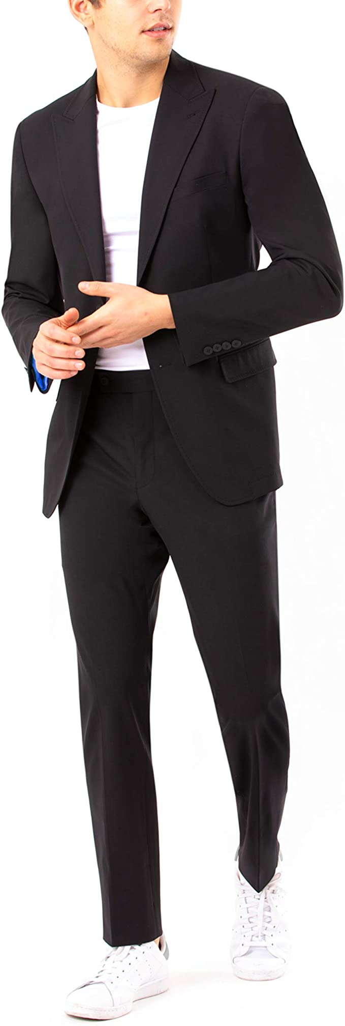 DKNY Men's Regular Active Tailored Suit, Black, 42R